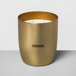 25oz Large Brass Candle Redwood - Hearth & Hand™ with Magnolia