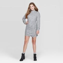 Women's Long Sleeve Mock Turtleneck Cinched Bottom Sweater Mini Dress - Xhilaration™