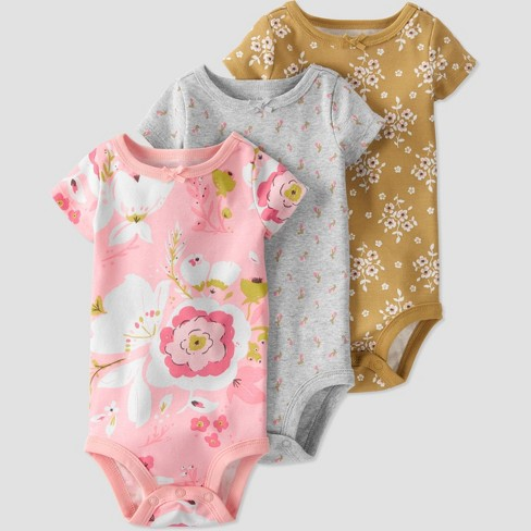 Baby Girls' 3pk Organic Cotton Floral Bodysuit - little planet by carter's Pink - image 1 of 4