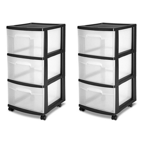 Sterilite 3-Drawer Storage Cart, Clear with Black Frame (2-Pack) | 2 x 28309002 - image 1 of 4