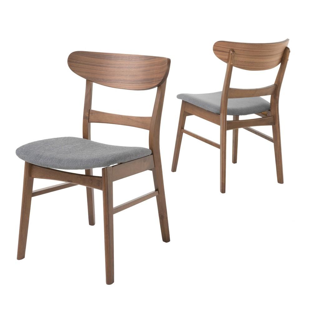 Idalia Dining Chair (Set of 2) - Dark Gray/Walnut (Dark Gray/Brown) - Christopher Knight Home