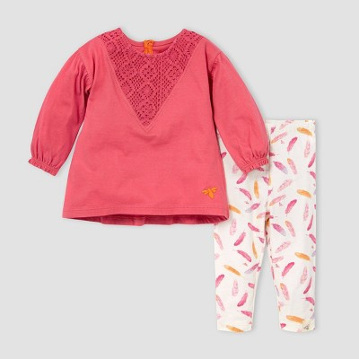 Burt's Bees Baby® Baby Girls' Organic Cotton Crochet Tunic and Leggings Set - Pink/Off-White 3M