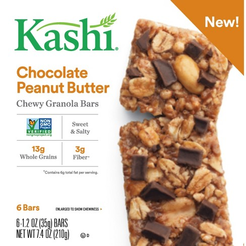 Kashi Chocolate Peanut Butter Chewy Granola Bars - 6ct - image 1 of 4