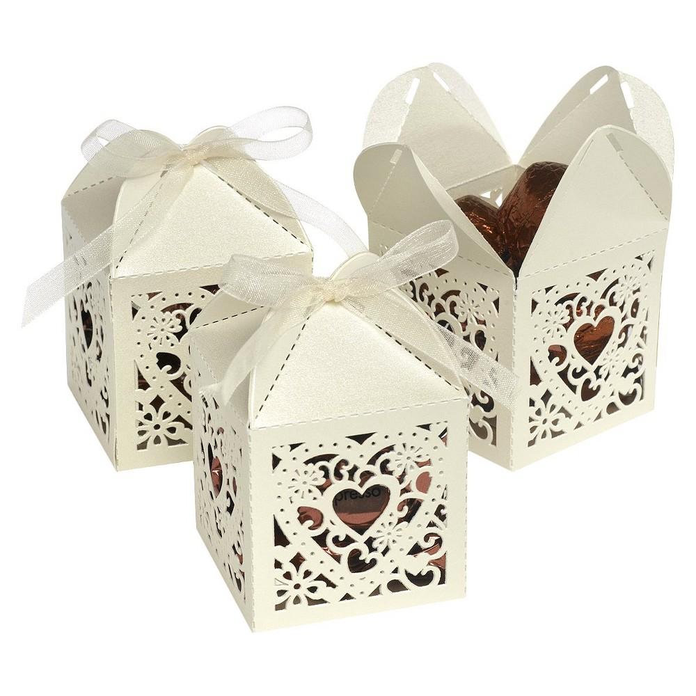 25ct Square Heart Die Cut Wedding Favor Box Ivory