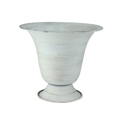 """Allstate Floral 8.25"""" Weathered Outdoor Urn Planter - White"""