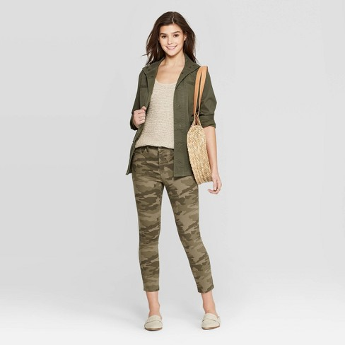 Image result for Women's High-Rise Camo Print Skinny Crop Jeans - Universal Thread™ Green