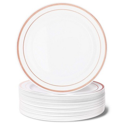 """Juvale 50-Pack Elegant Disposable Plastic Dinner Plates 10.25"""" Party Supplies, White with Rose Gold Rim"""
