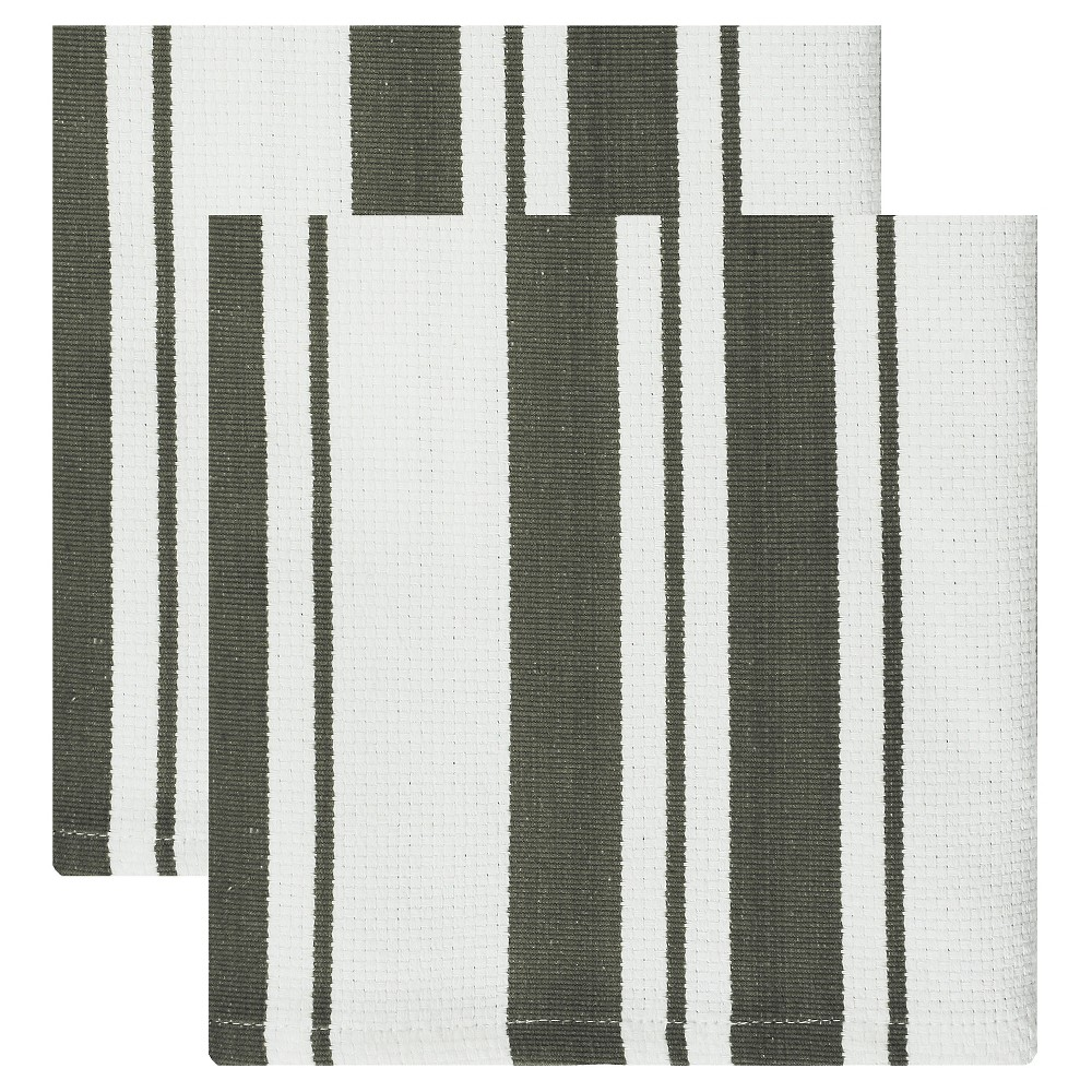 "Image of ""13""""x13"""" 2pk Cotton Stripe Kitchen Towel Dark Gray - Mu Kitchen"""