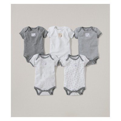 Burt's Bees Baby® Organic Cotton 5pk Short Sleeve Bodysuit Set - Heather Gray 0-3M