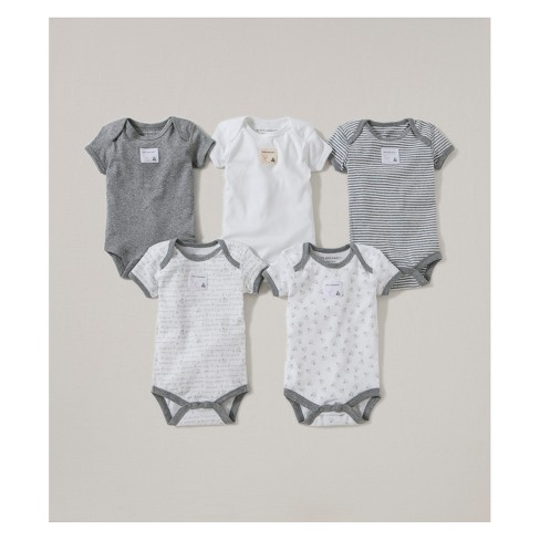 1f071d1e61 Burt s Bees Baby® Organic Cotton 5pk Short Sleeve Bodysuit Set - Heather  Gray