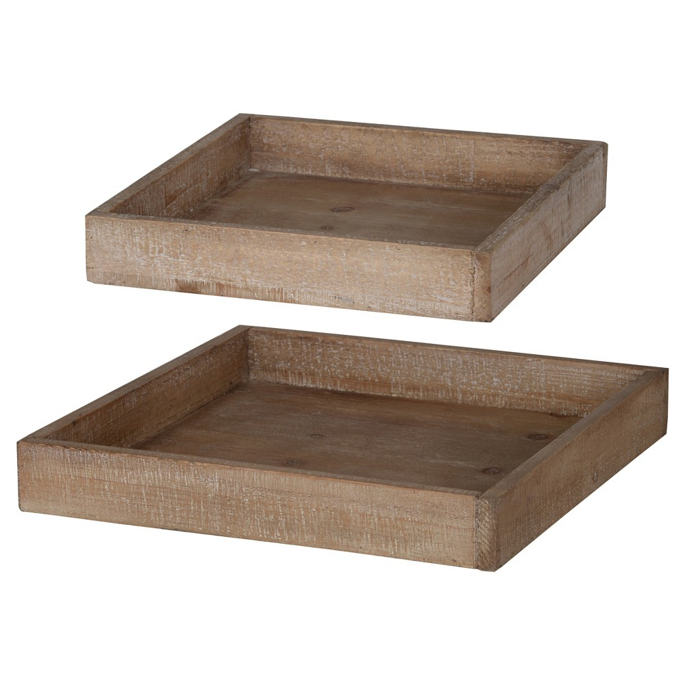 Sheridan Decorative Square Wooden Trays Brown 2pk - A&b Home