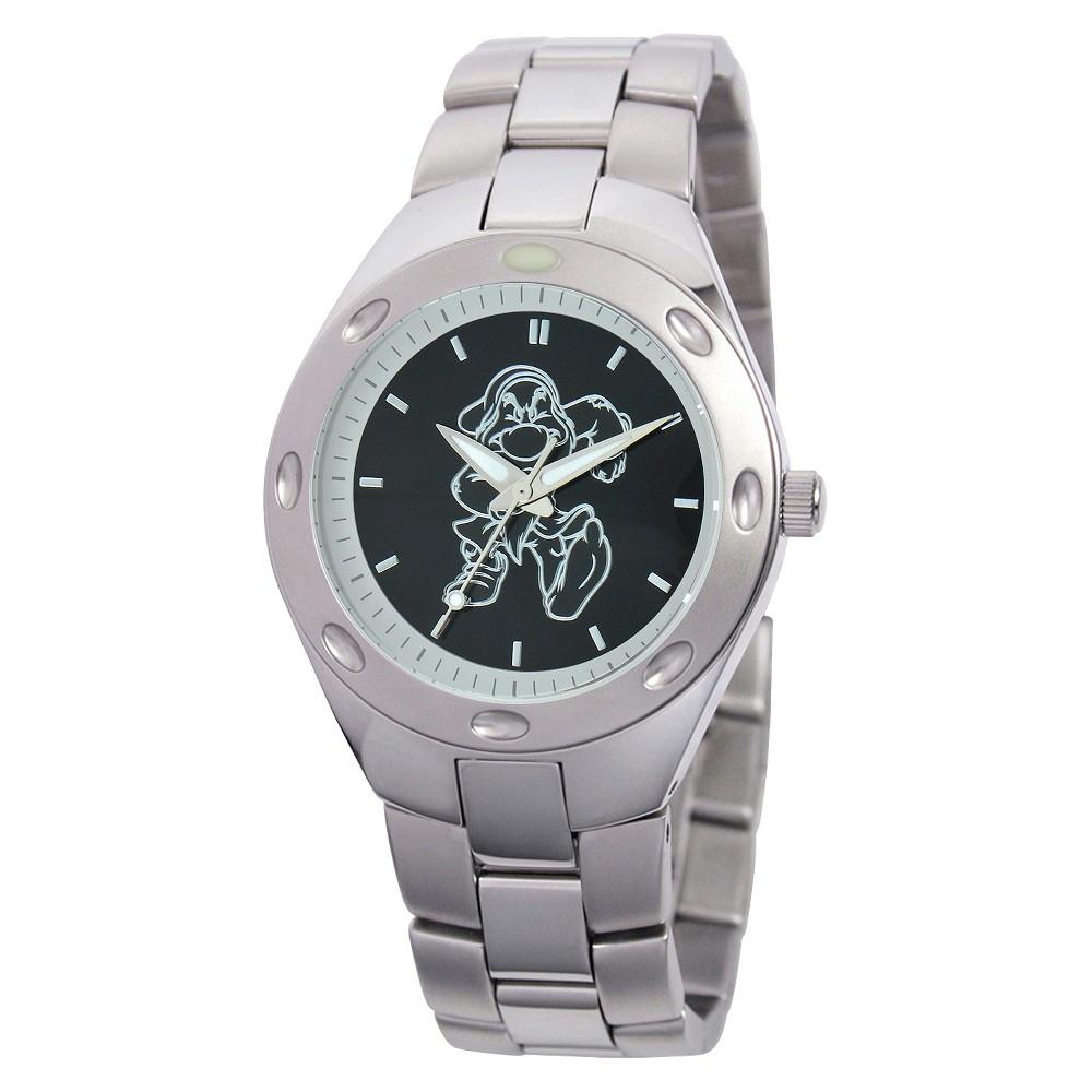 Image of Men's Disney Grumpy Fortaleza Stainless Steel Watch - Silver, Men's, Size: Small, Silver/Silver/Silver
