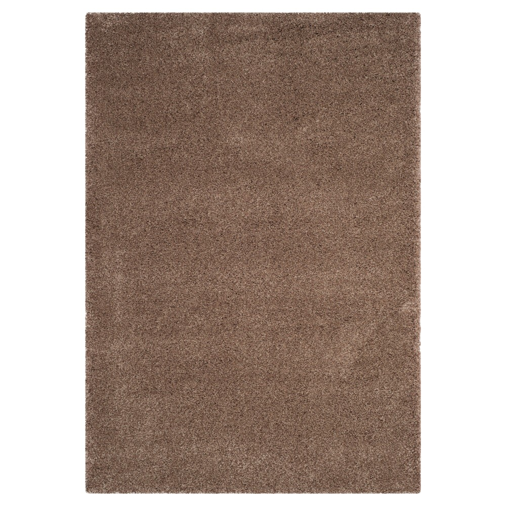 Taupe (Brown) Solid Loomed Area Rug - (5'3