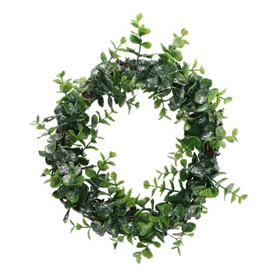 """Northlight 8.75"""" Unlit Sparkling Silver and Green Grass Christmas Wreath"""