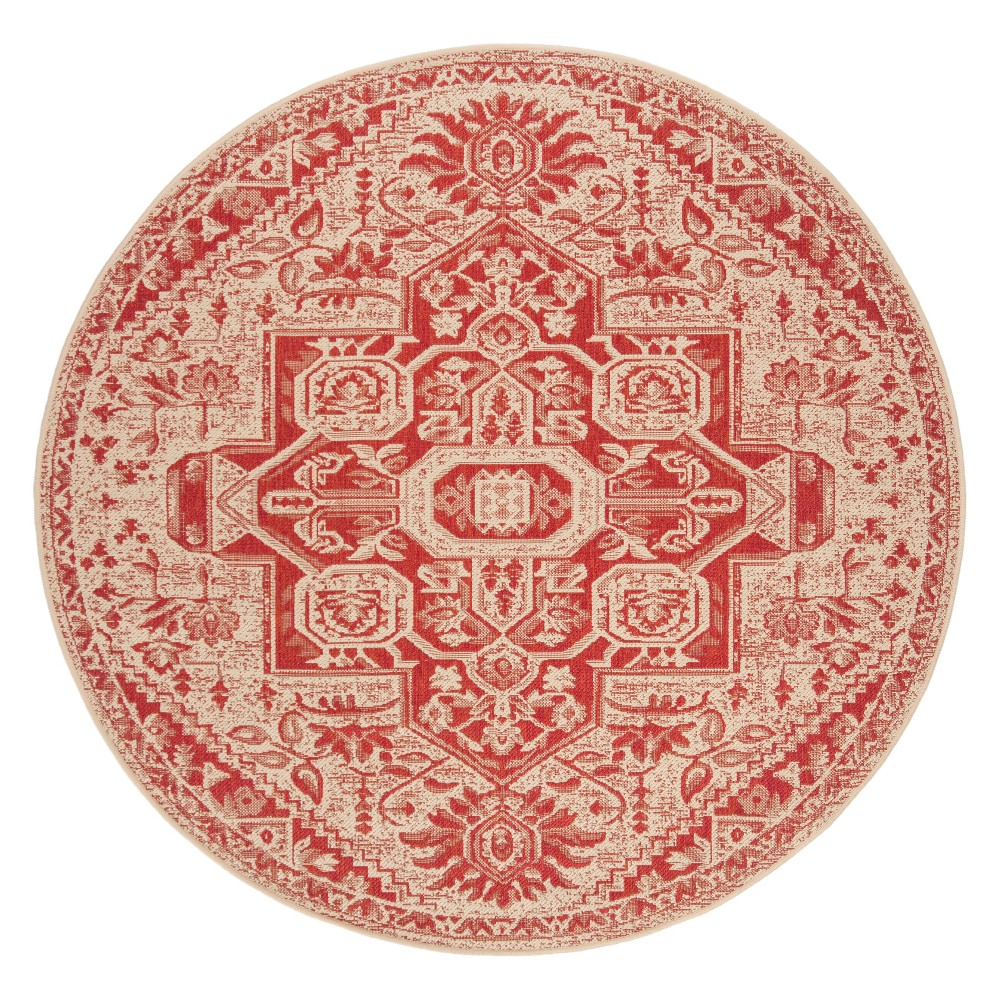 6'7 Medallion Loomed Round Area Rug Red/Cream (Red/Ivory) - Safavieh