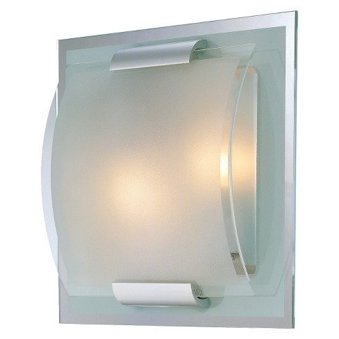 Lite Source Delano 2 Light Mirror and Frosted Wall Light - Silver - image 1 of 1