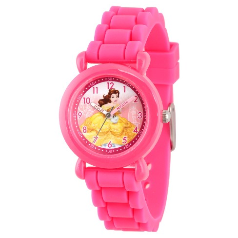 Girls' Disney Princess Belle Pink Plastic Time Teacher Watch, Pink Silicone Strap, WDS000146 - image 1 of 4