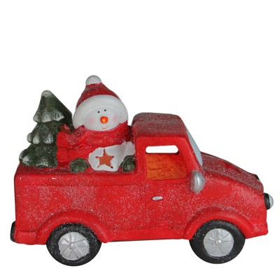 "Northlight 14.5"" Red Pre-Lit LED Snowman in Truck with Tree Christmas Tabletop Decor"