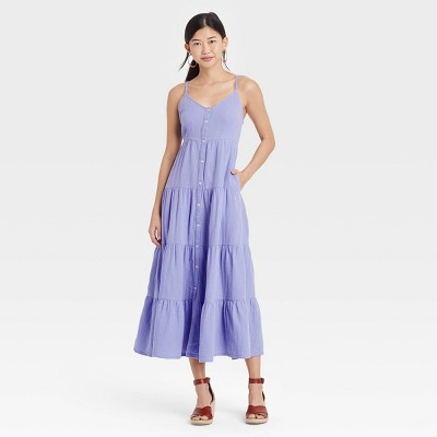 Women's Sleeveless Button-Front Tiered Dress - Universal Thread™