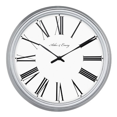 Roman 13  Wall Clock White/Silver - Threshold™