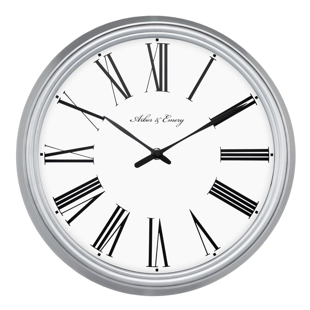 Roman 13 Wall Clock White/Silver - Threshold