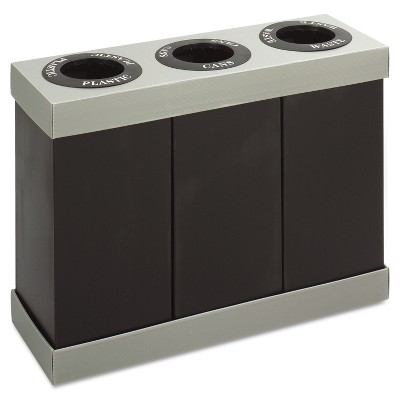 Safco At-Your-Disposal Recycling Center Polyethylene Three 28gal Bins Black 9798BL