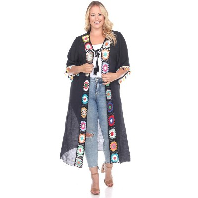 Women's Plus Size Crochet Duster Cover-Up - One Size Fits Most Plus - White Mark
