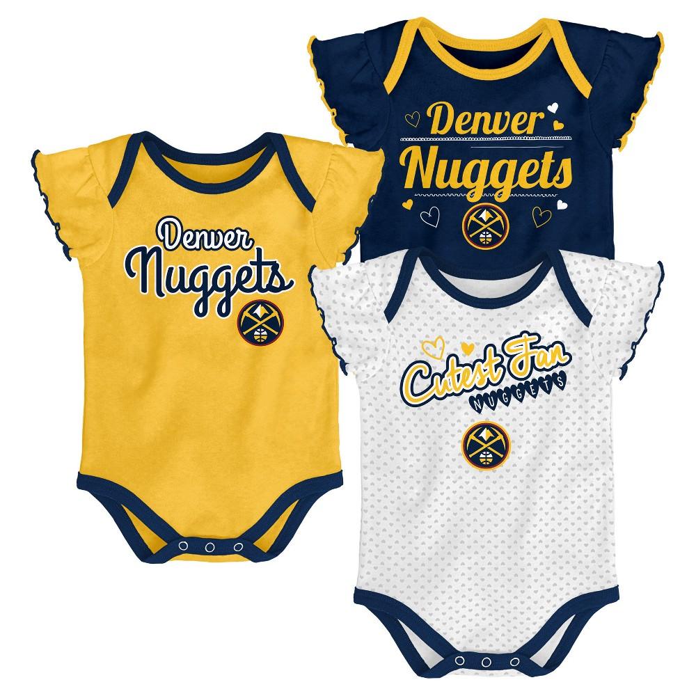 Denver Nuggets Girls' Draft Pick 3pk Body Suit Set 12 M, Size: 12M, Multicolored