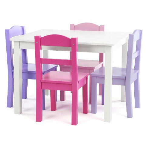 Tot Tutors Set Of 4 Chairs With Forever Kids Wood Table