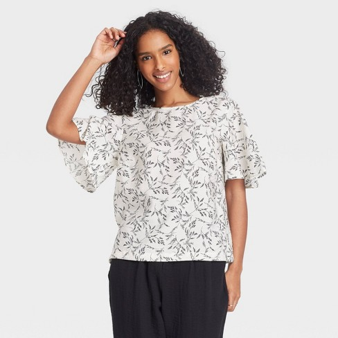 Women's Flutter Short Sleeve Top - A New Day™ - image 1 of 3