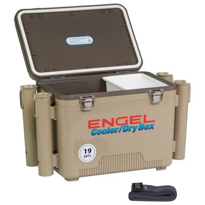 Engel 19 Quart Fishing Rod Holder Attachment Insulated Dry Box Cooler, Tan