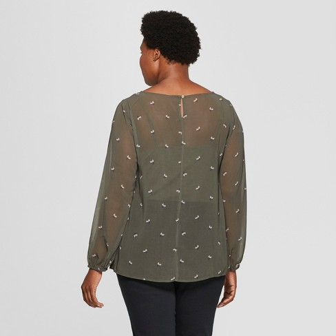 518145a88d9 Women s Plus Size Floral Print Long Sleeve Chiffon Blouse With Cami - Ava    Viv™ Olive 4X   Target