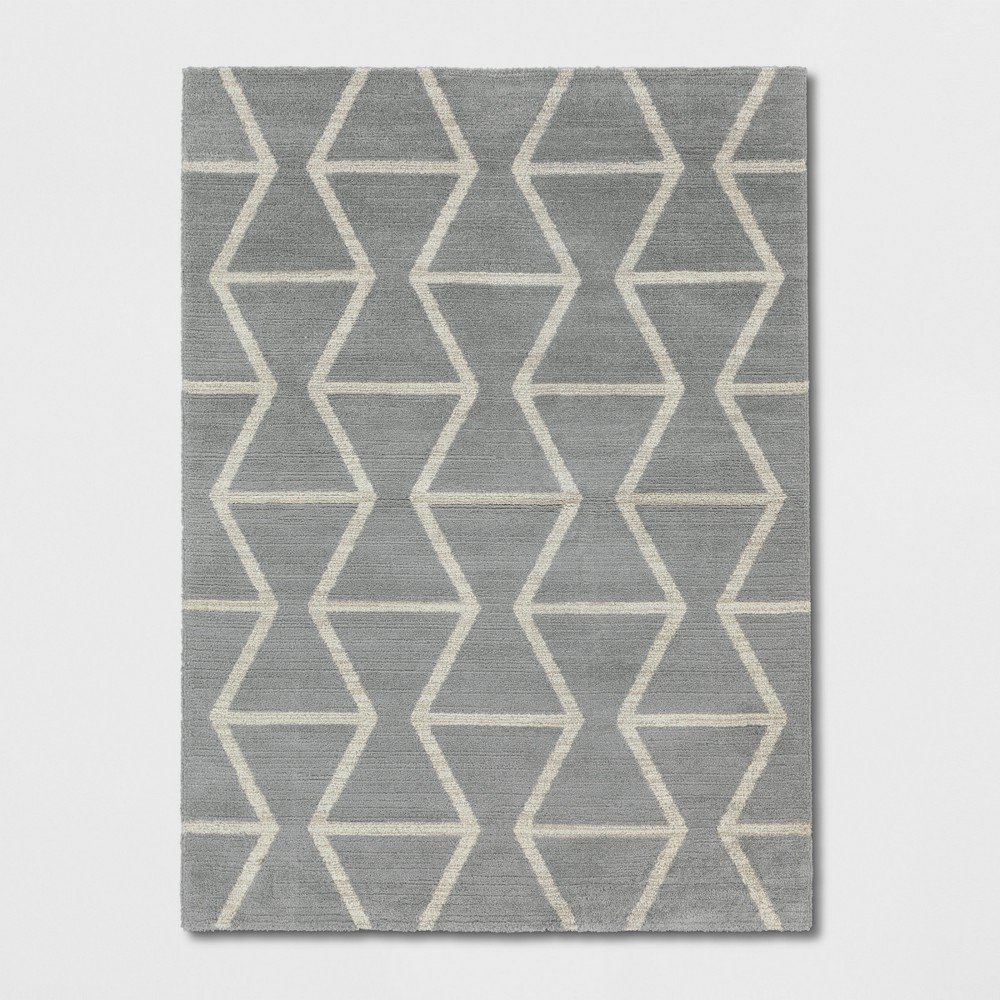 9'2X12' Woven Geometric Area Rug Gray - Project 62