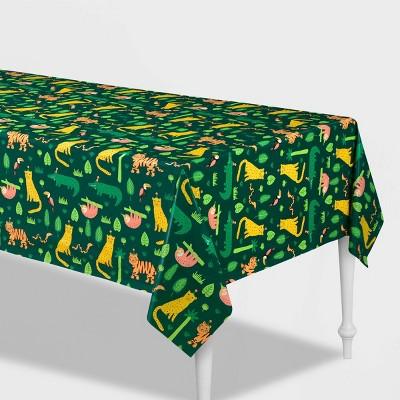 "54""x84"" Jungle Print Plastic Table Cover - Spritz™"