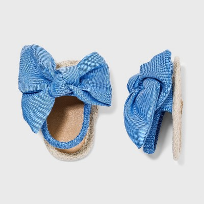 Baby Girls' Chambray Bow Sandals - Cat & Jack™ 6-9M Blue