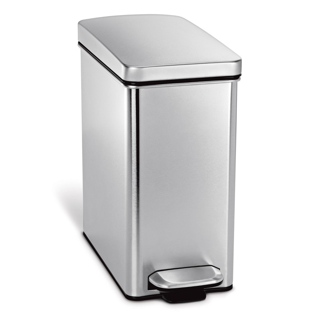 Image of simplehuman 10 ltr Profile Step Trash Can Brushed Stainless Steel