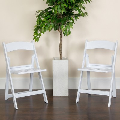 Emma and Oliver 2 Pack White Resin Slatted Party & Rental Folding Chair Indoor Outdoor