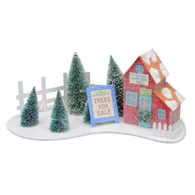 "Northlight 15"" Pre-Lit Glittered Tree Shop Christmas Tabletop Decor - Warm White Lights"