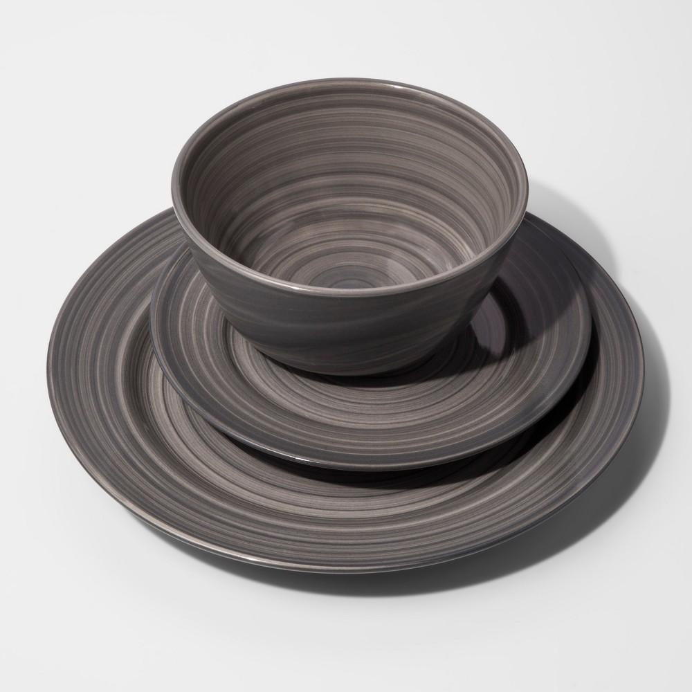 Stoneware 12pc Brushstrokes Dinnerware Set Gray - Threshold