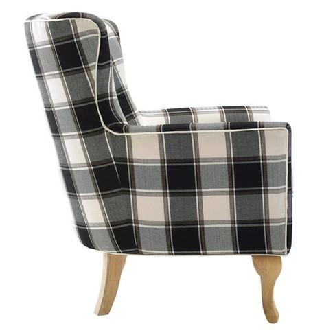 Knox Checkered Pattern Accent Chair Blackwhite Checkered Dorel