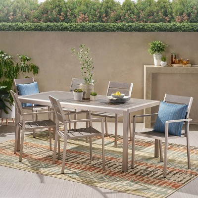 Cape Coral 7pc Aluminum Modern Dining Set - Christopher Knight Home