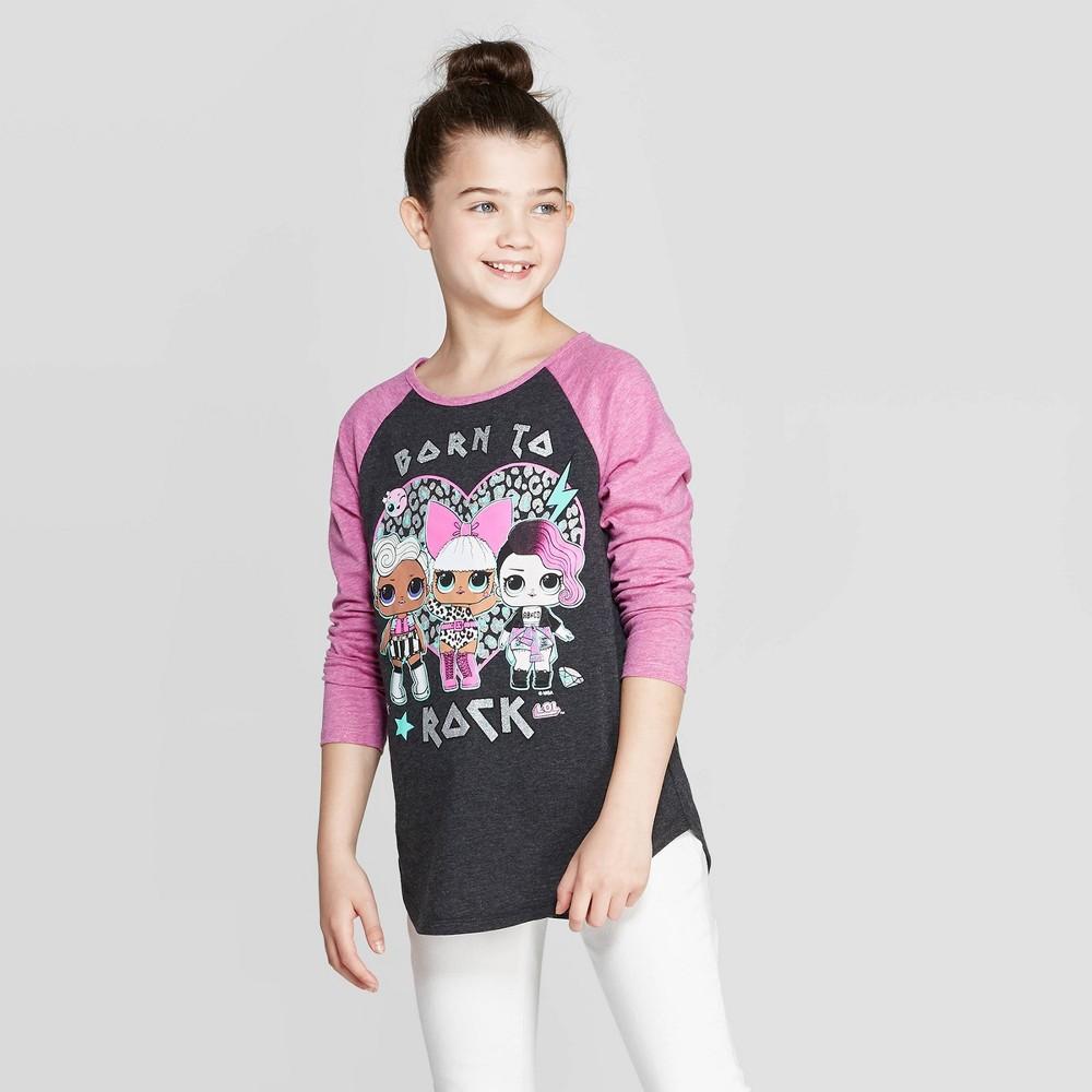 Image of Girls' L.O.L. Surprise! Rock Trio Long Sleeve Raglan T-Shirt - Heather Charcoal XS, Girl's, Gray