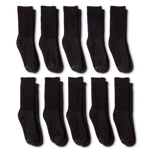 Hanes Women's Cushioned 10pk Crew Socks - Black 5-9, Women's