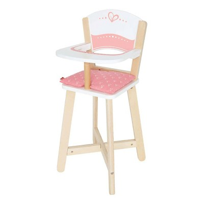 Hape Wooden Baby Doll Play Highchair Seat Toddler Toy High Chair Furniture, Pink