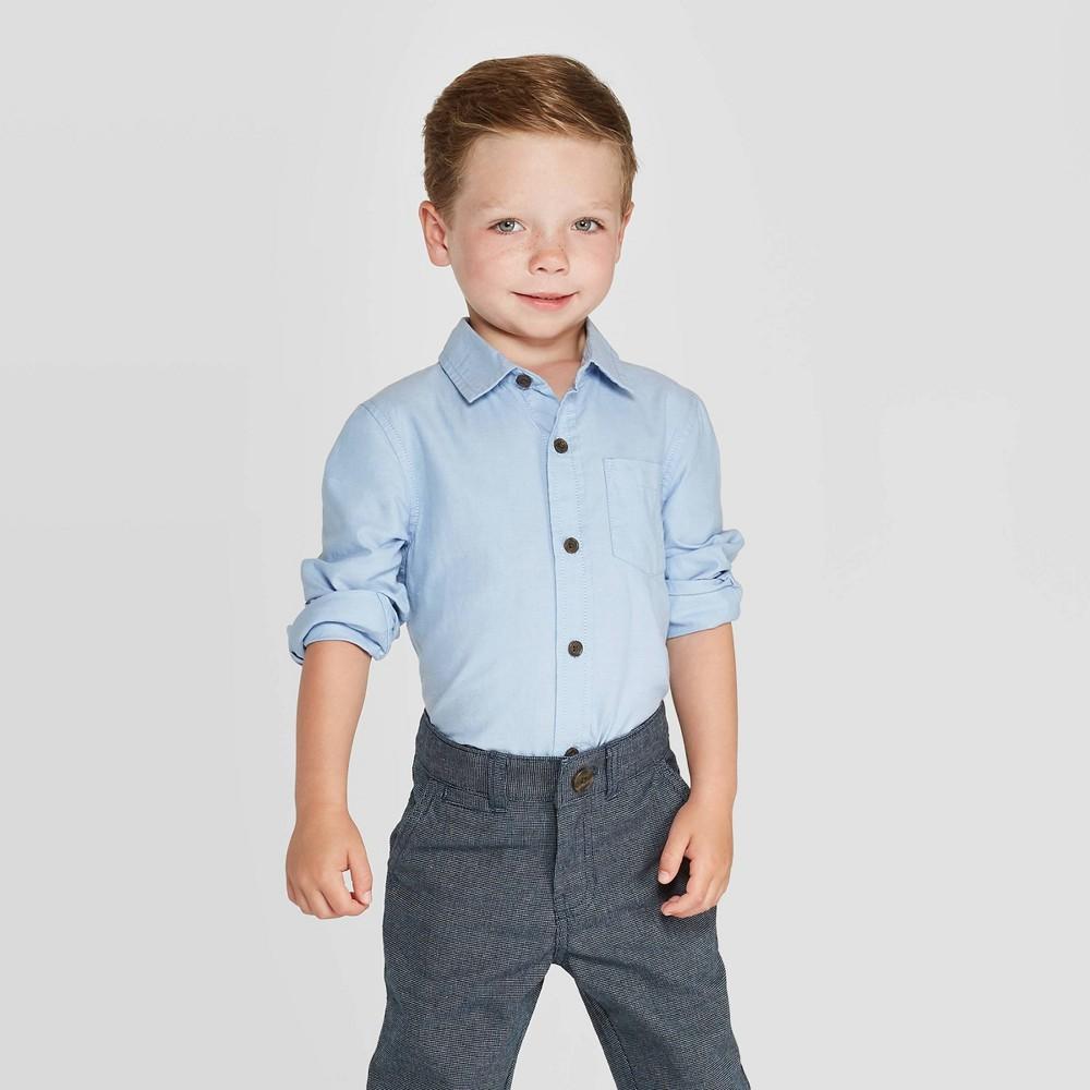 Toddler Boys 39 Long Sleeve Oxford Button Down Shirt Cat 38 Jack 8482 Blue 18m