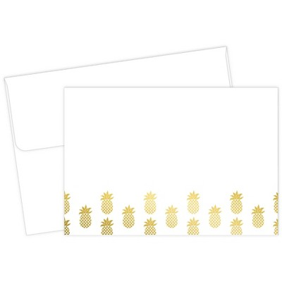 50ct Pineapple Print Note Card White