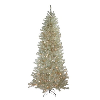 Northlight 9' Pre-Lit Artificial Christmas Tree Metallic Sheer Champagne Tinsel - Clear Lights