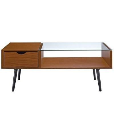 Mid Century Modern Wood And Glass Coffee Table - Saracina Home : Target
