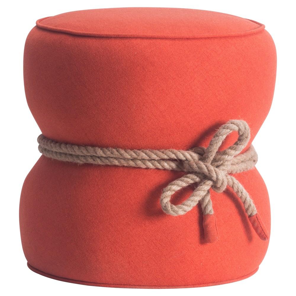 Upholstered Fabric Ottoman - Orange - Zm Home