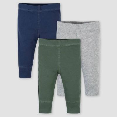 Gerber Baby Boys' 3pk Dino Pull-On Pants - Gray/Blue Newborn